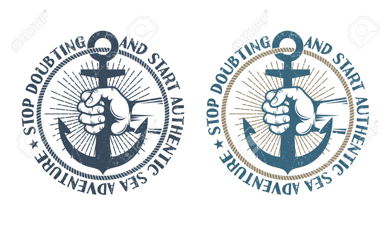 Sailor's hand holds anchor in frame of rope. Original authentic marine retro logo. Shabby worn texture on a separate layer and can be disabled Stock Vector - 85127761