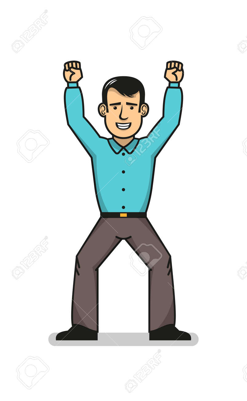 Smiling man in blue shirt feeling happy standing with hands up. Businessman won. Stock Vector - 85127772
