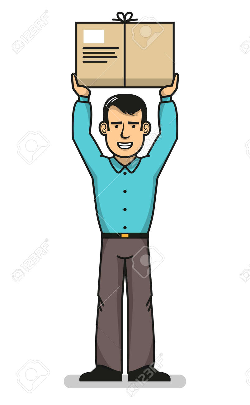 Smiling delivery man standing with hands up and holding box. Vector illustration. Stock Vector - 85127771