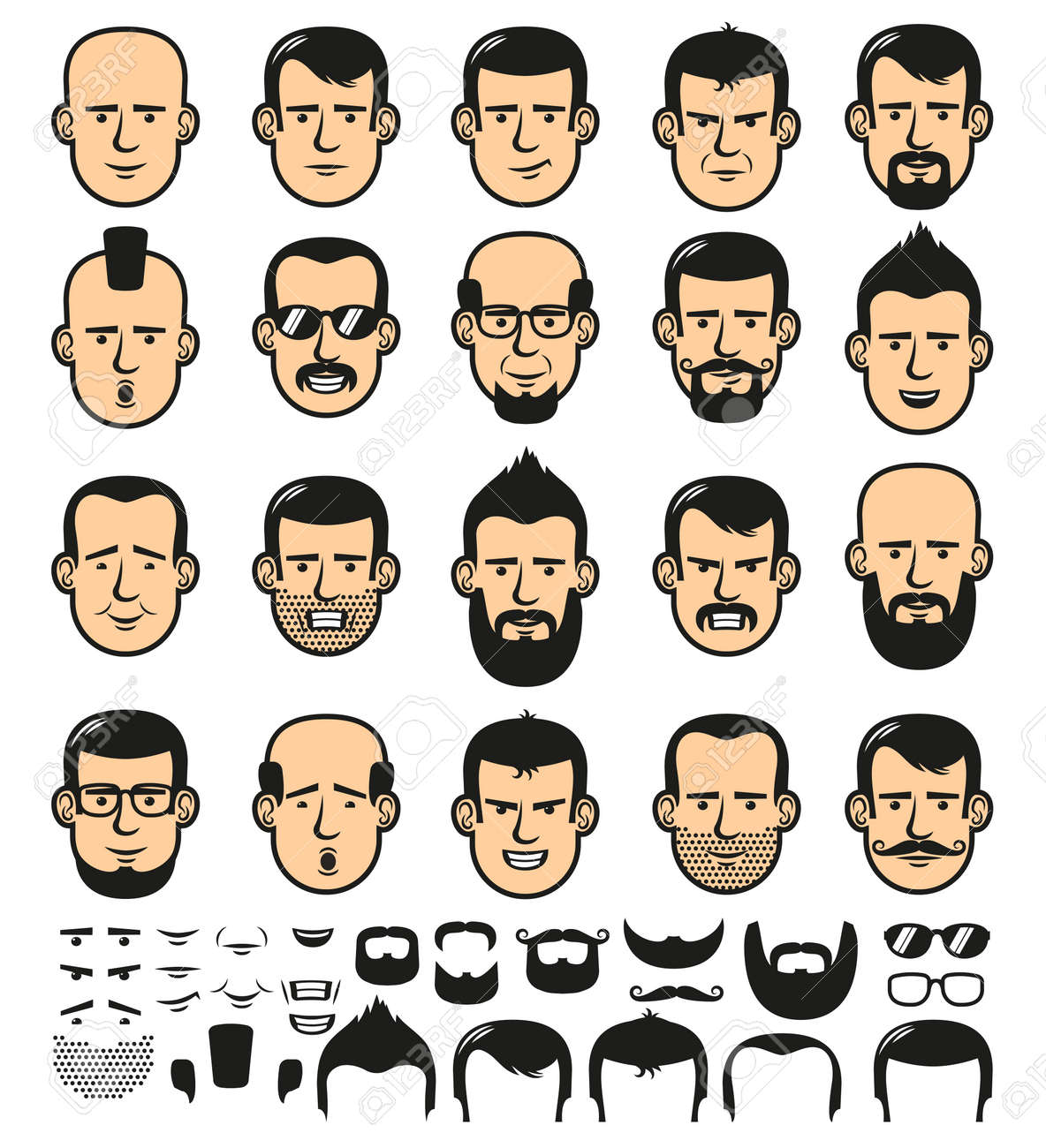 Set of men faces template with different stylish beards, mustaches, and haircuts.  Vector illustration Stock Vector - 85127769