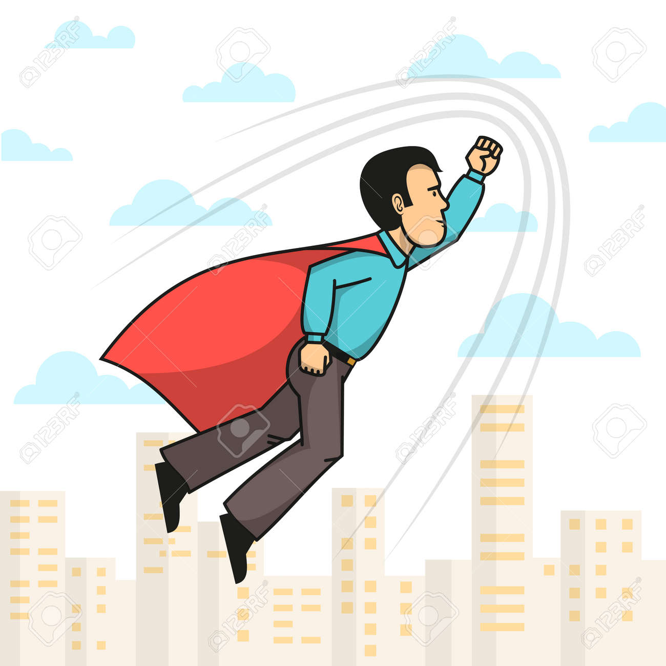 Side view of superhero man wearing red cloak with hand up flying over city. Vector illustration. Stock Vector - 85127806