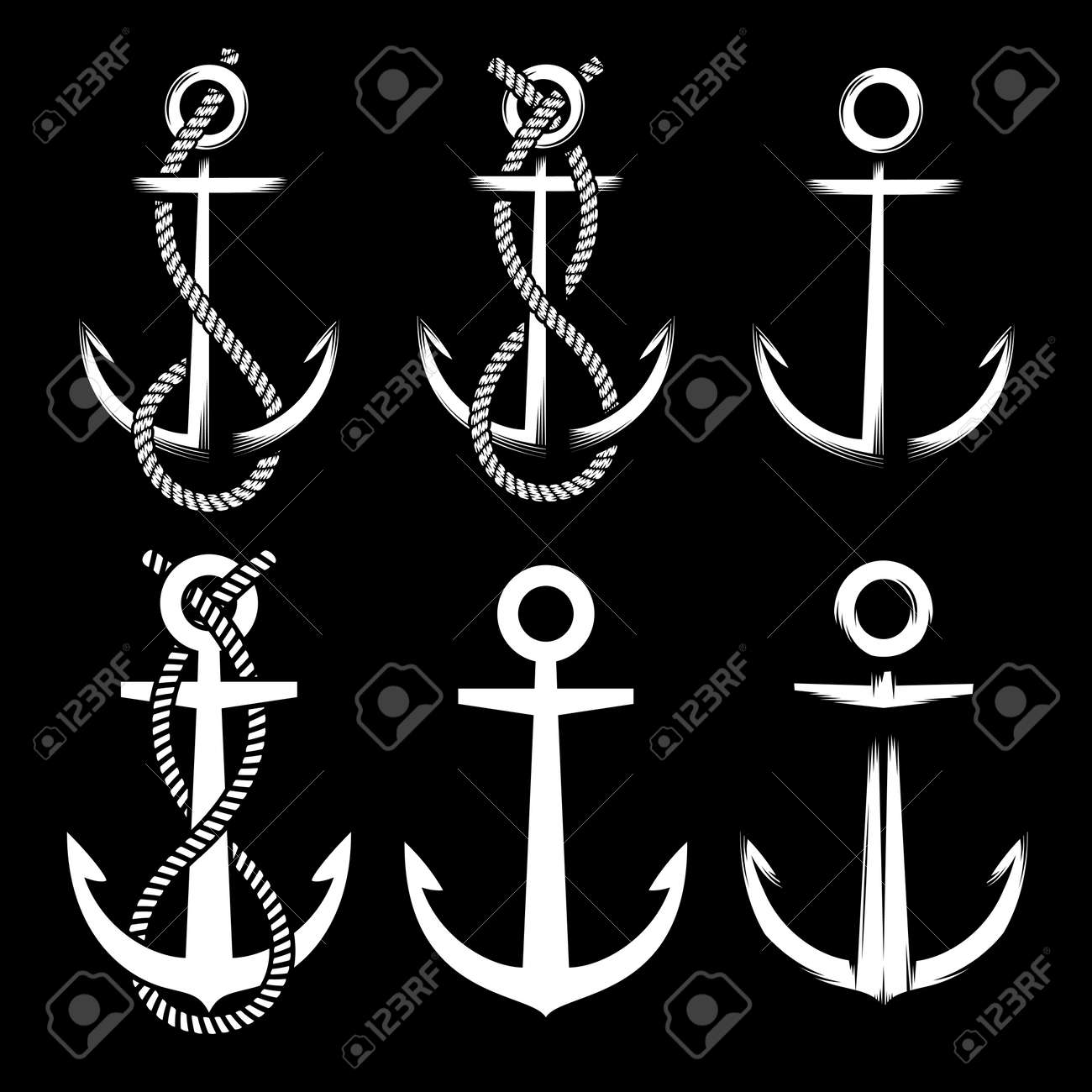 Set of different vintage white colored anchors on black background with and without rope. Stock Vector - 85126782
