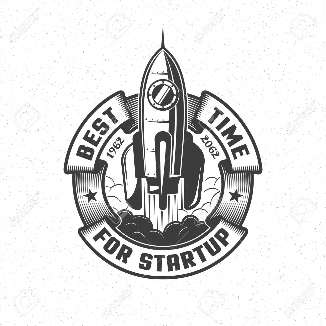 Logo with a launching spaceship and a circular banner in retro style. Vector illustration. Stock Vector - 85126992