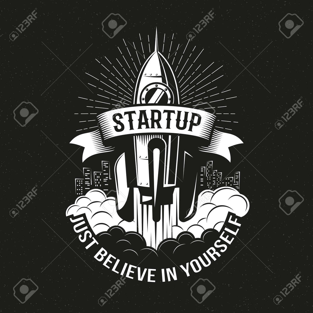 Startup vintage logo with a rocket taking off over the city on a black background. Vector illustration. Stock Vector - 85126993