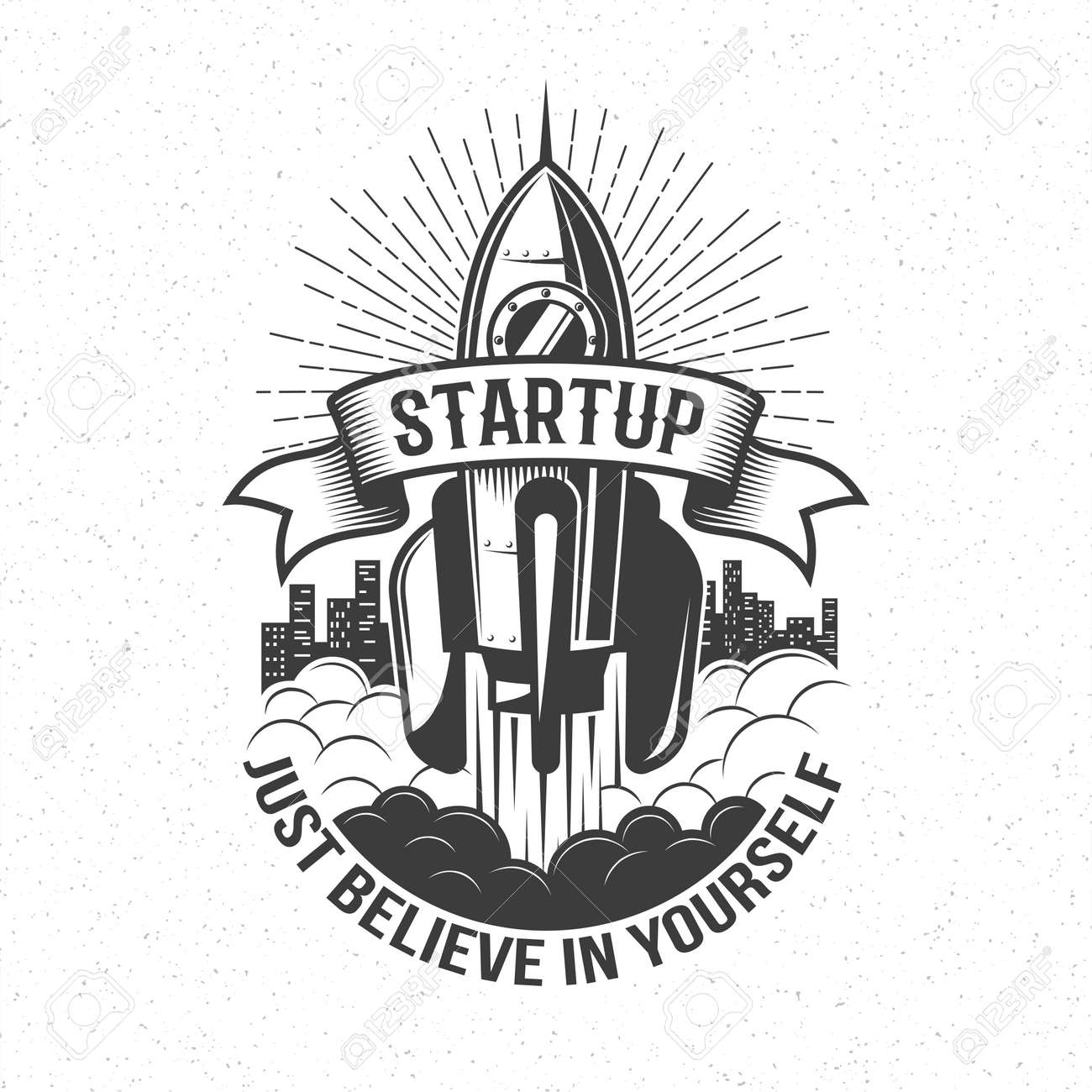 Startup retro logo - rocket launch in the sky with word on ribbon and believe in yourself motto.  Vintage emblem with spaceship. Stock Vector - 85126787