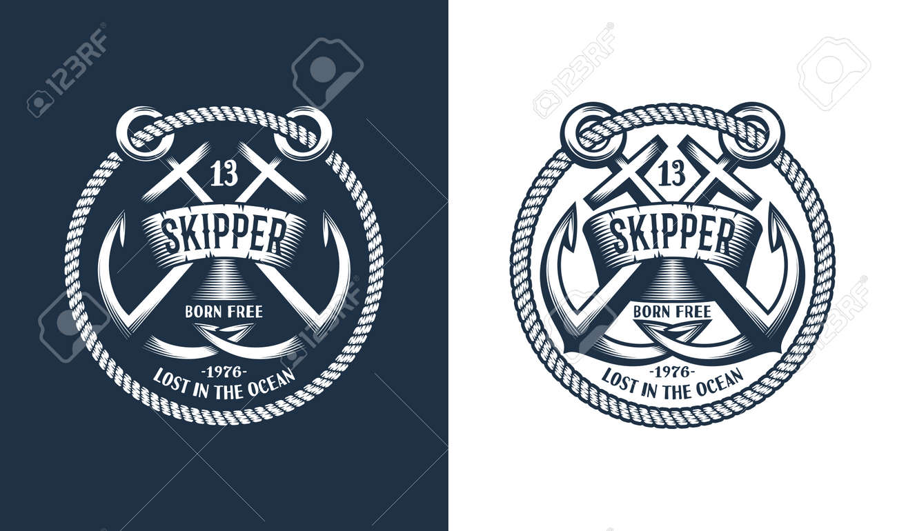 Template Marine emblem with anchors and frame of rope. Stock Vector - 86143895