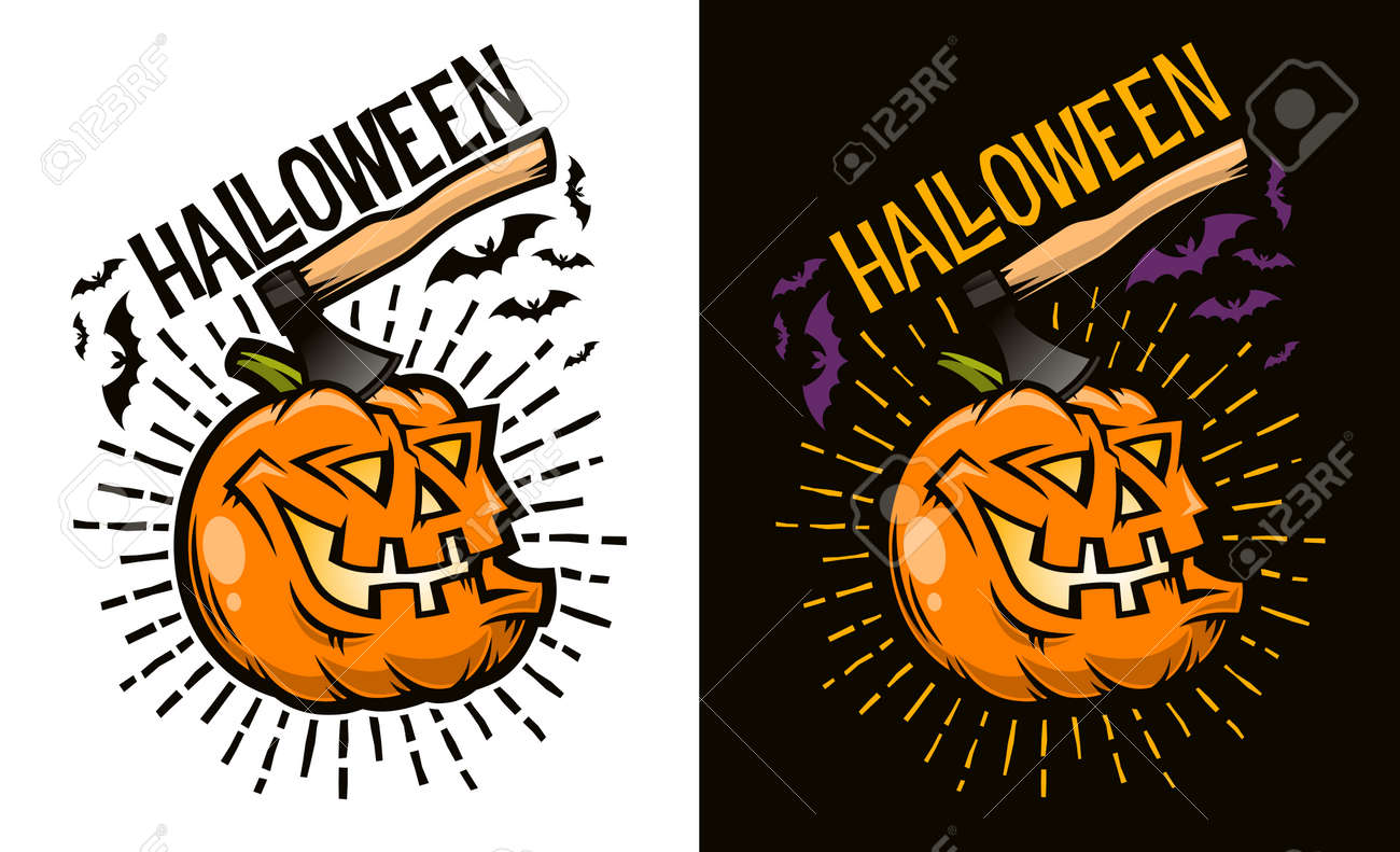 Halloween laughing pumpkin with an ax sticking out of its head - concept for postcard, poster,  invitation. Options for dark and light backgrounds. Vector illustration. Stock Vector - 86143897