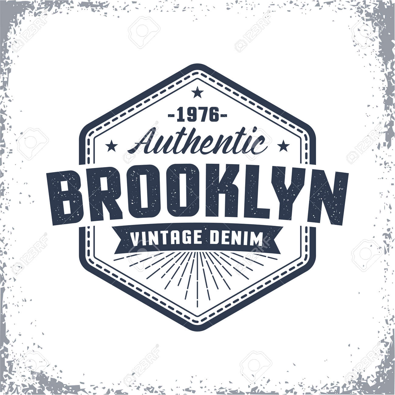 Brooklyn vintage logo with grunge effect. Classic urban American print, label, badge on clothes. Stock Vector - 86143899