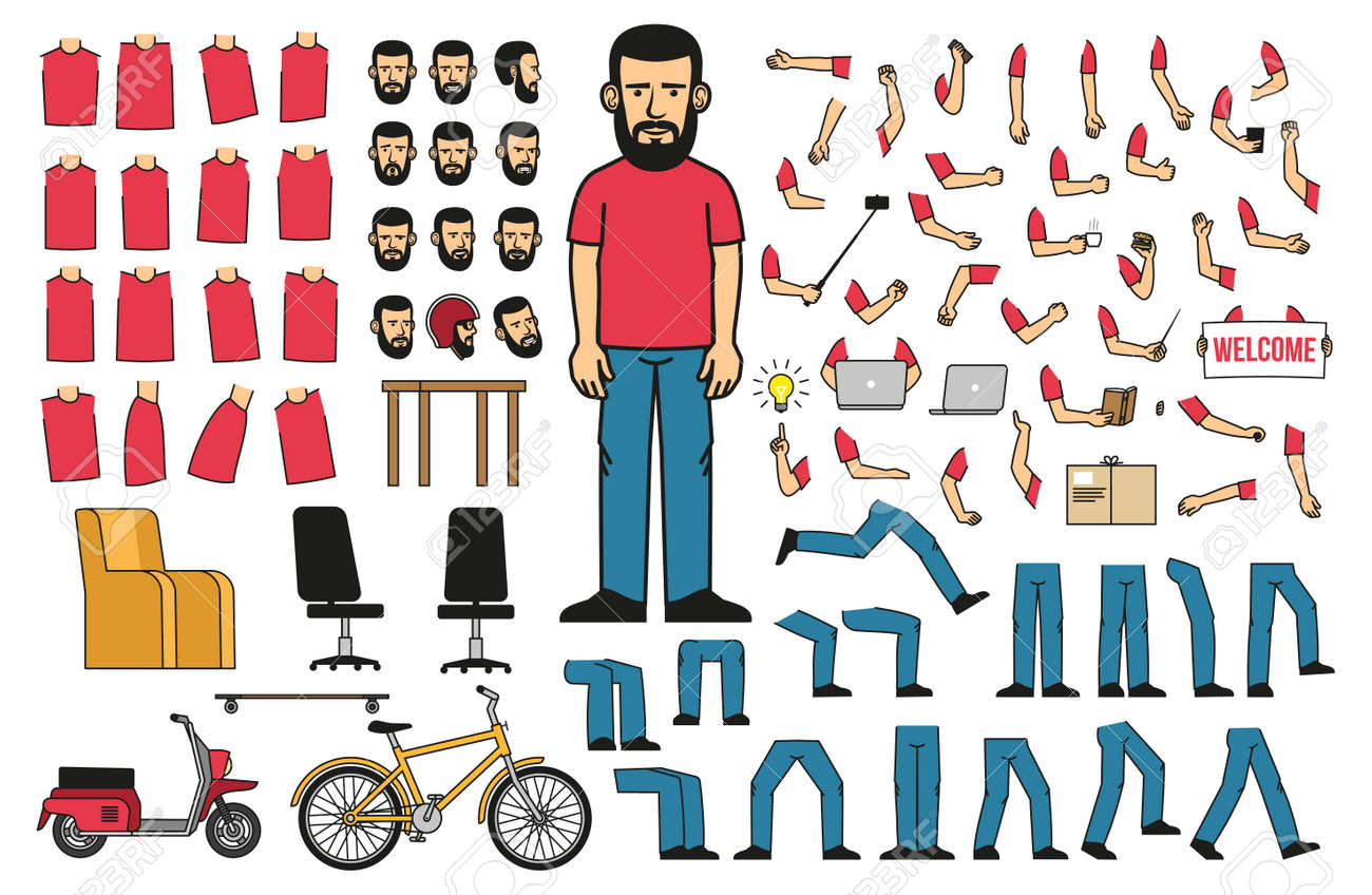A set of body parts and objects to create a bearded man in a T-shirt and jeans in various poses. Vector illustration. Stock Vector - 86143903