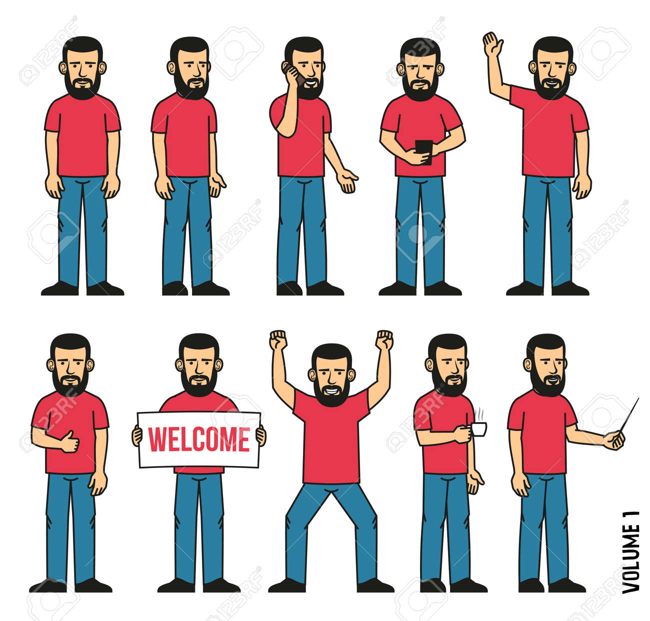 Set of 10 poses of  bearded man in  T-shirt and jeans. Person stands, uses  smartphone, welcomes, rejoices, drinks coffee and more. Can be disassembled into separate body parts. Stock Vector - 86143904
