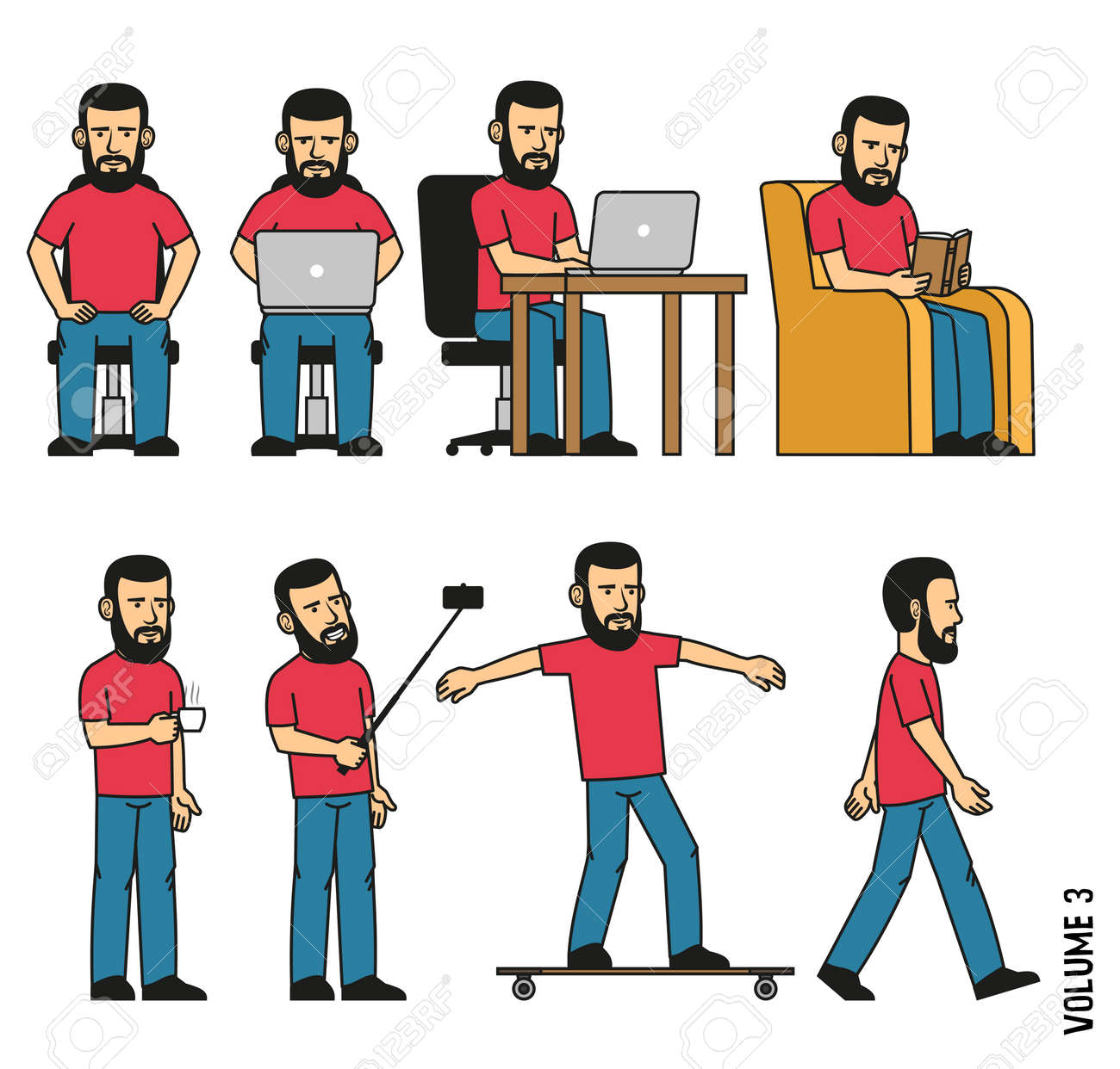 Man with beard sits, works on laptop, reads book in  chair, makes selfie, drinks coffee, rides longboard. Vector illustration. It can be easily disassembled  on body parts. Stock Vector - 86143906