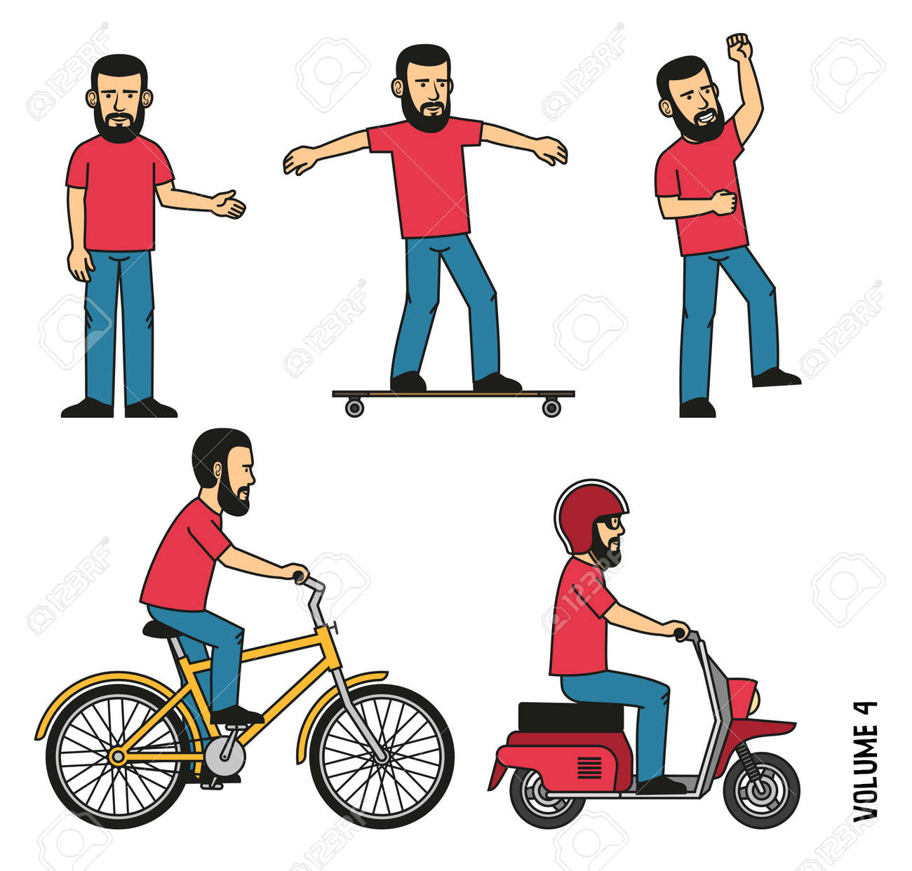 Bearded man in t-shirt and jeans makes welcome gesture, joyfully jumps up. Character is riding a longboard, bicycle, scooter. Stock Vector - 86143907