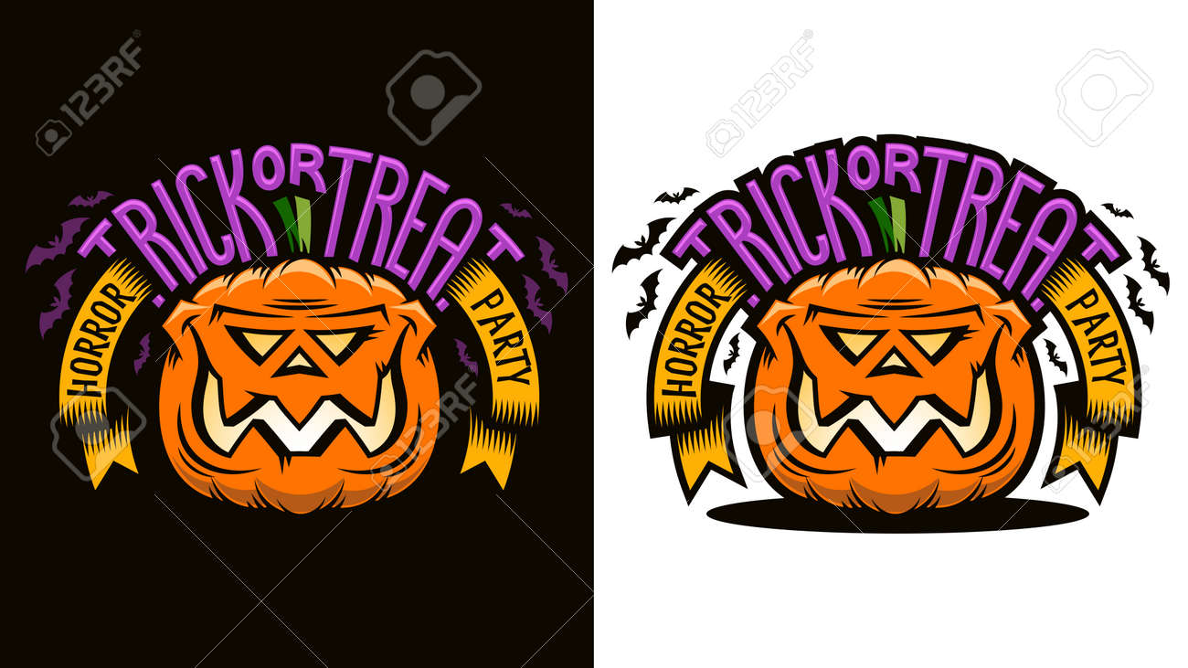 Halloween cartoon emblem - smiling pumpkin jack lantern with inscription Trick-or-treat. Options for dark and light background. Vector illustration. Stock Vector - 86143909