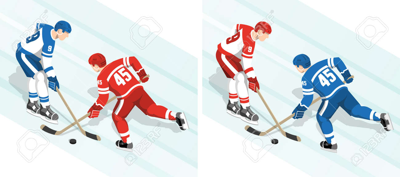 Ice hockey players in red and white blue uniform are fighting for the puck during the match. Isometric vector illustration. Stock Vector - 91040764