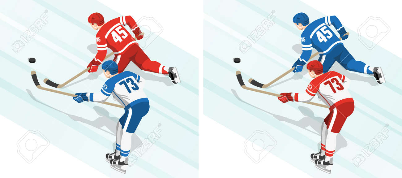 Red and blue hockey players chase the puck during the game. Isometric view from the back. Stock Vector - 91040765