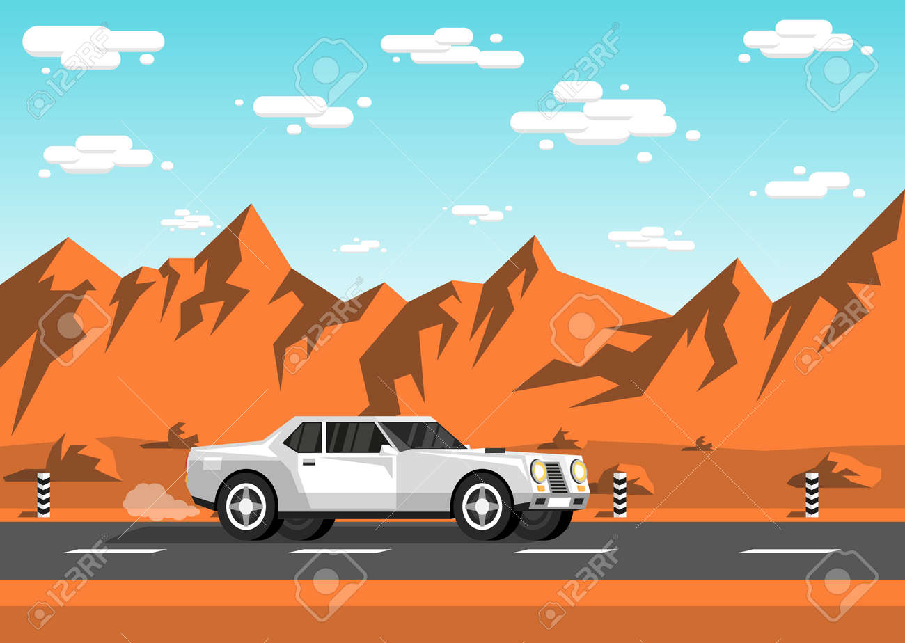 White sedan car rides along an empty highway in the prairies to the backdrop of mountains, rocks, sky and clouds. Stock Vector - 92406292