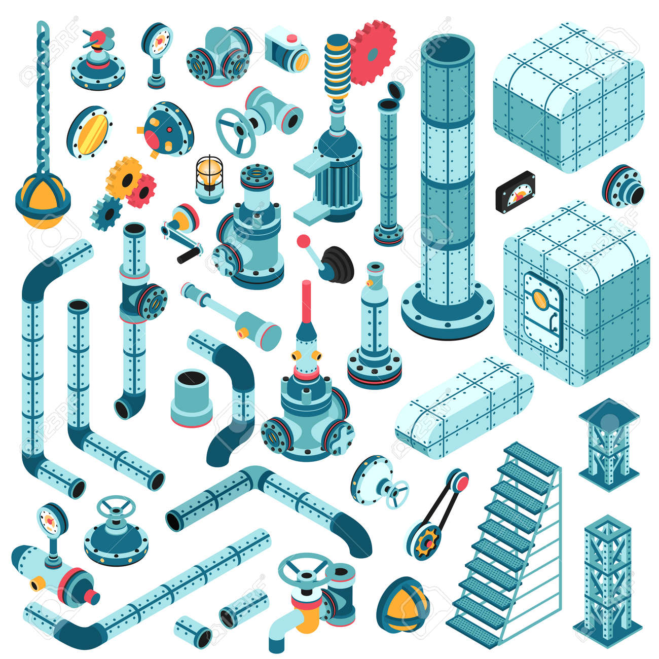 Spare parts for creating complex industrial machines - pipes, cranes, hulls, valves, splitters, fittings, flanges, portholes and so on. Isometric 3d illustration. Stock Vector - 92406290