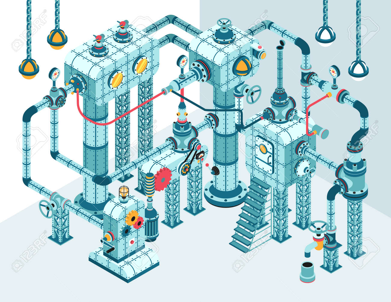 Complex 3D isometric industrial abstract intricate machine of pipes, motors, levers, gauges, pumps and so on.  It can be disassembled into individual parts. Stock Vector - 92415597