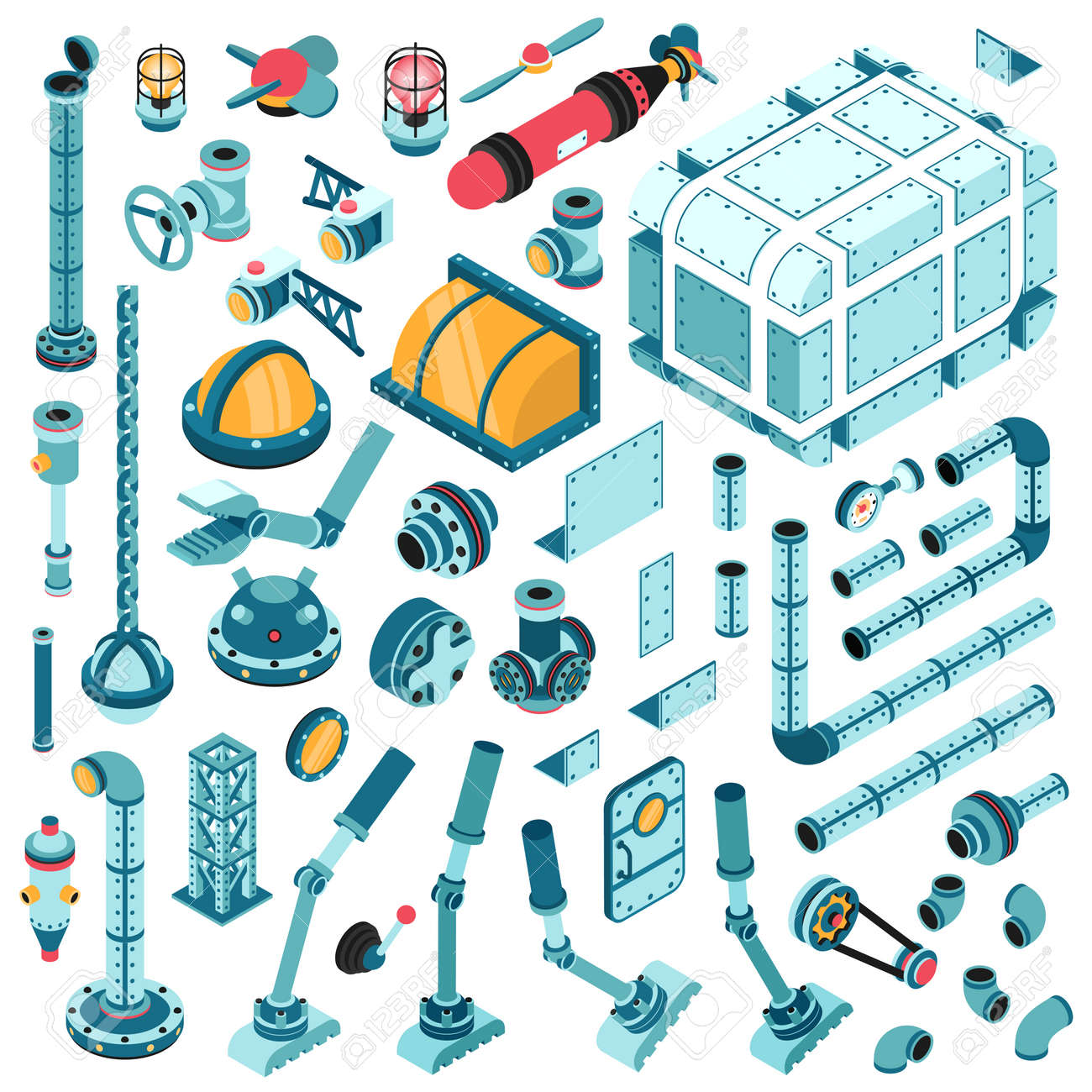 Isometric spare parts for the assembly of industrial machines and aggregates. Pipes, valves, pumps, flanges, fittings, splitters, lids, fittings, devices and so on. Stock Vector - 92406297
