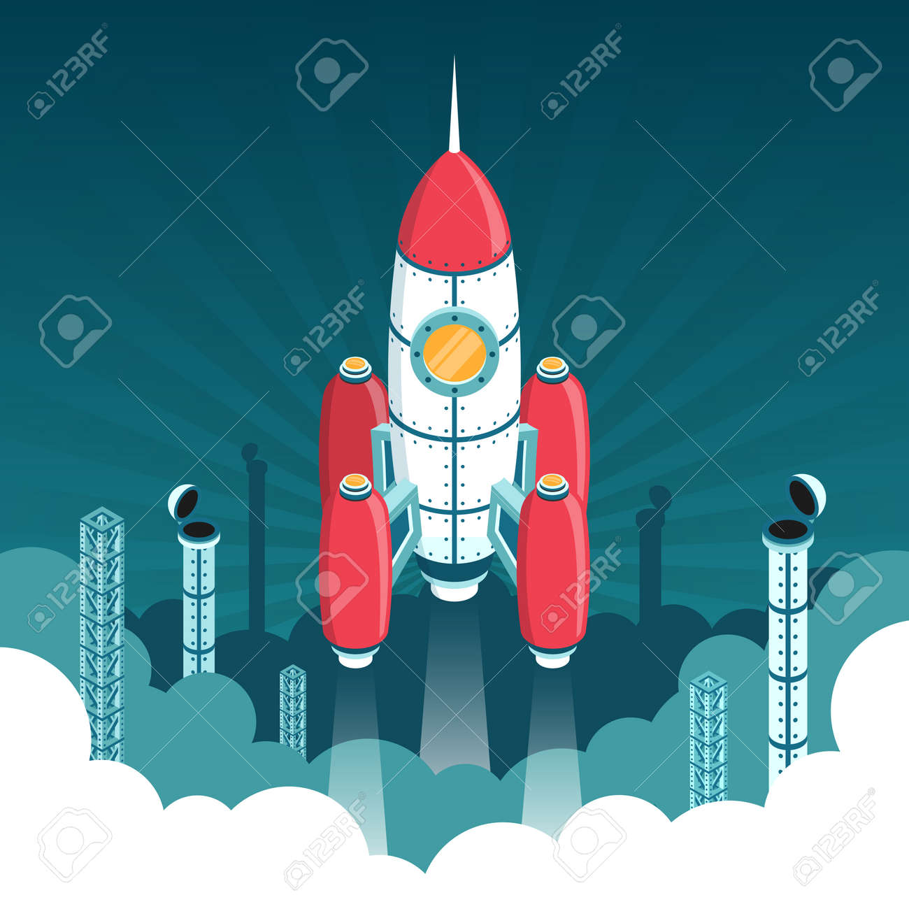 Launch of 3d isometric rocket into space against backdrop of industrial structures and smoke clubs. Stock Vector - 92805244