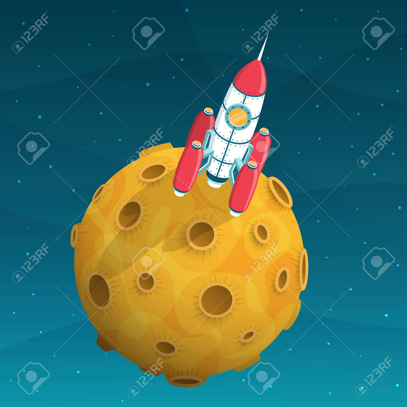 Rocket space ship standing on yellow planet with craters. 3d isometric illustration. Stock Vector - 92805247