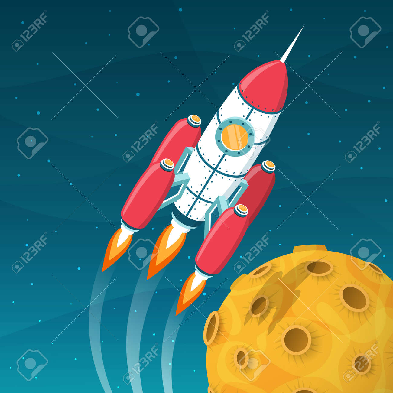 Rocket spacecraft  flies around a yellow planet with craters. 3d isometric space vector illustration. Stock Vector - 92805167