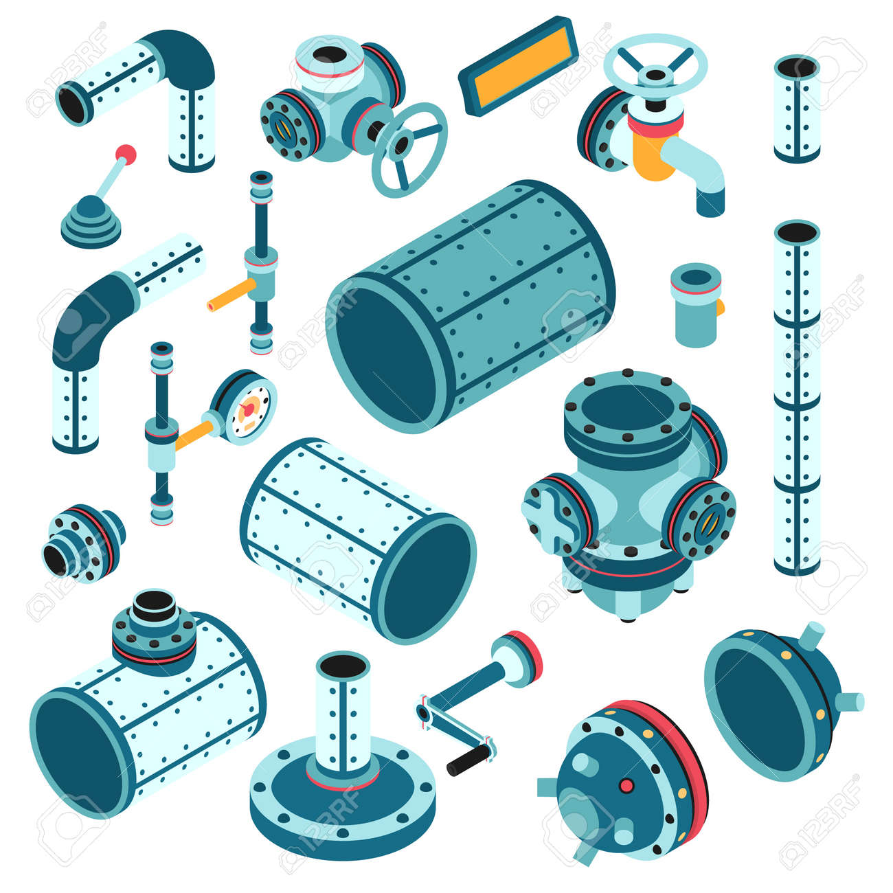 Industrial steampunk spare parts for assembling apparatus, machine - pipe, flange, fitting, body, valve, splitter, lever, handle and so on. 3d isometric vector illustration. Stock Vector - 92805169