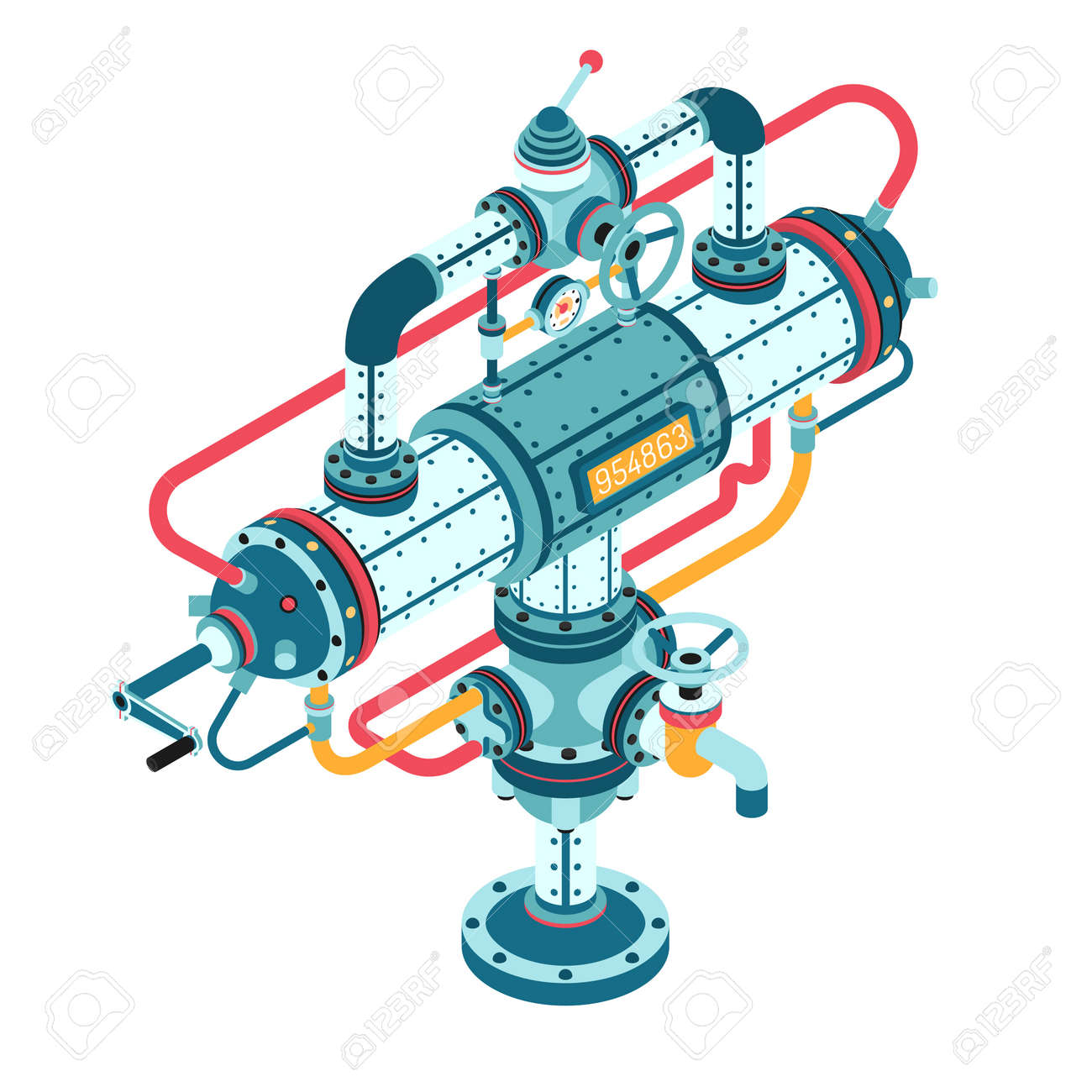 Fantastic steampunk machine made of pipes, casings, cables, flanges, fittings, valves, cranes, wires and so on. 3d isometric vector illustration. Can be disassembled into separate parts. Stock Vector - 92805170