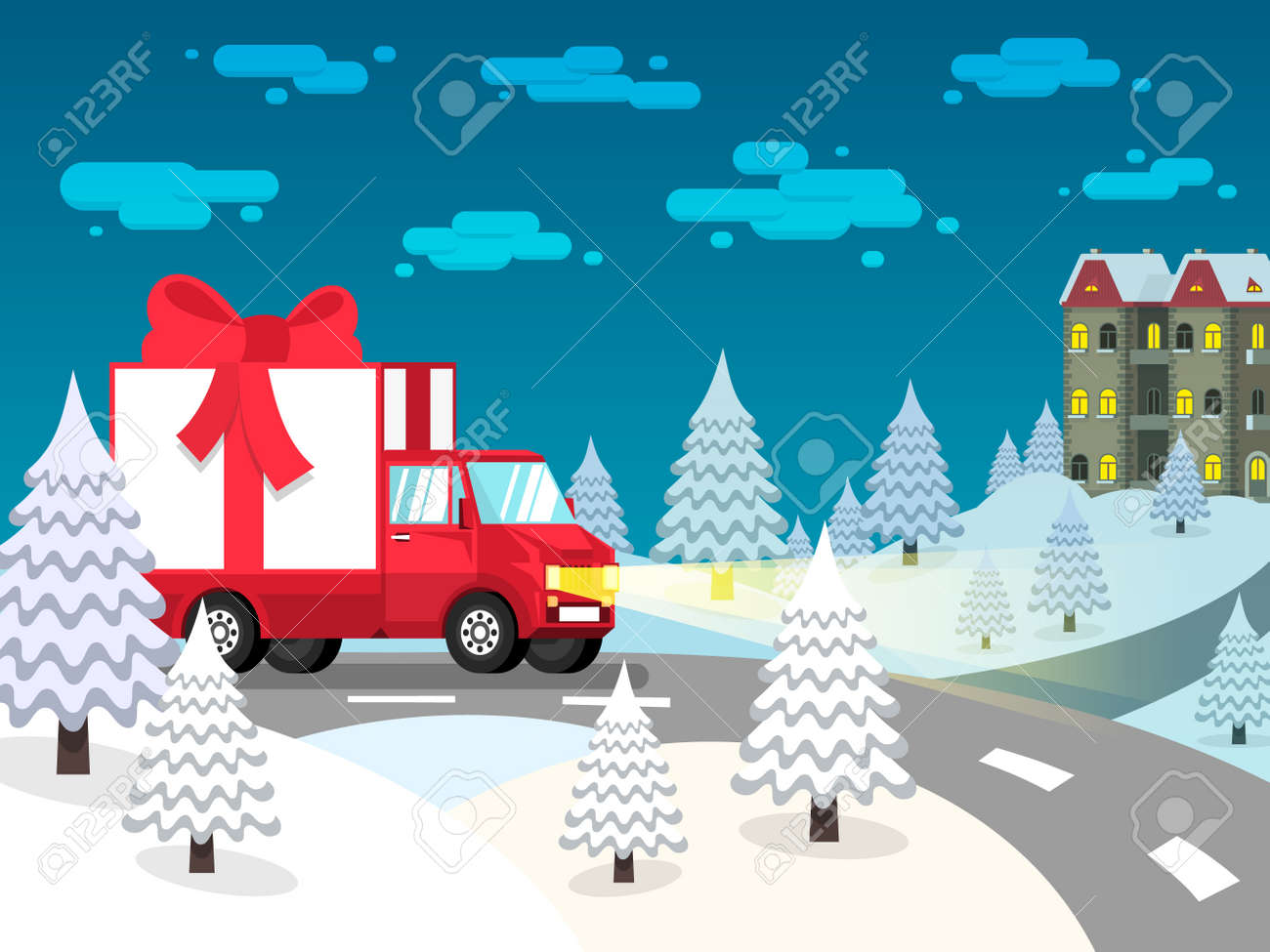Truck loaded with gift box with a red bow rides on a snow-covered landscape with fir trees. Stock Vector - 92805274
