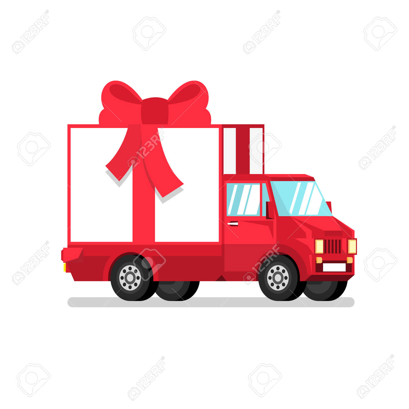 Isolated red truck with gift box in half turn. 3d vector illustration. Stock Vector - 92805275