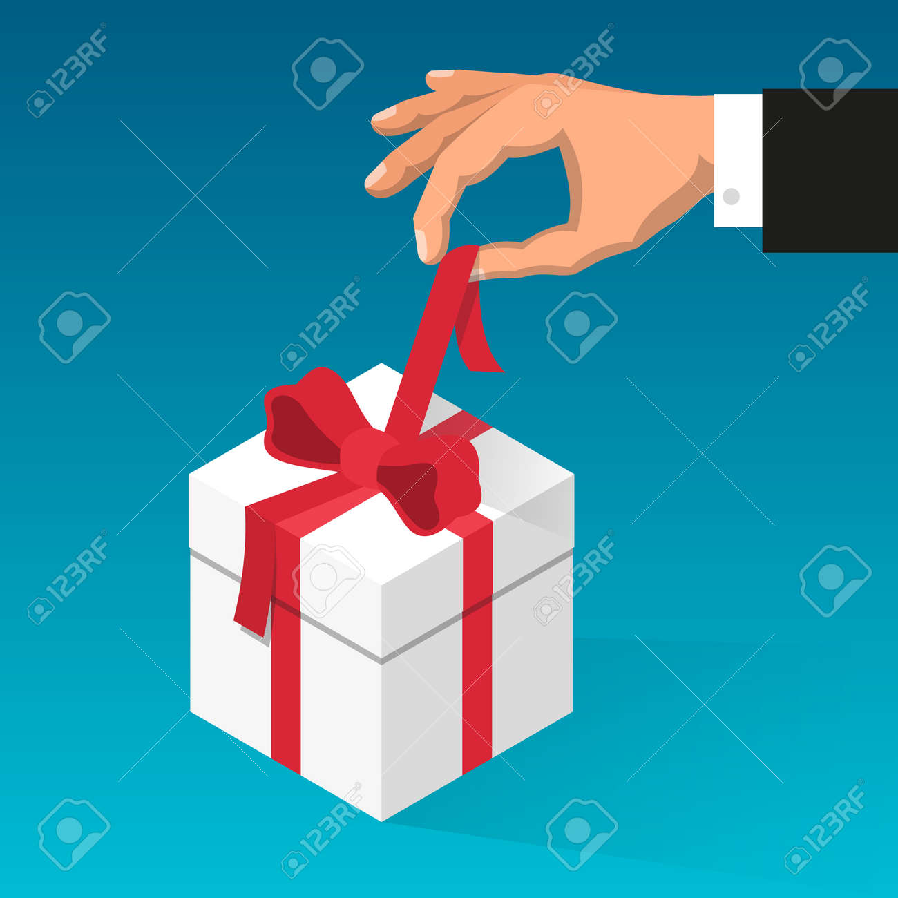 Man's hand unties red ribbon on the box with gift. Stock Vector - 92805276