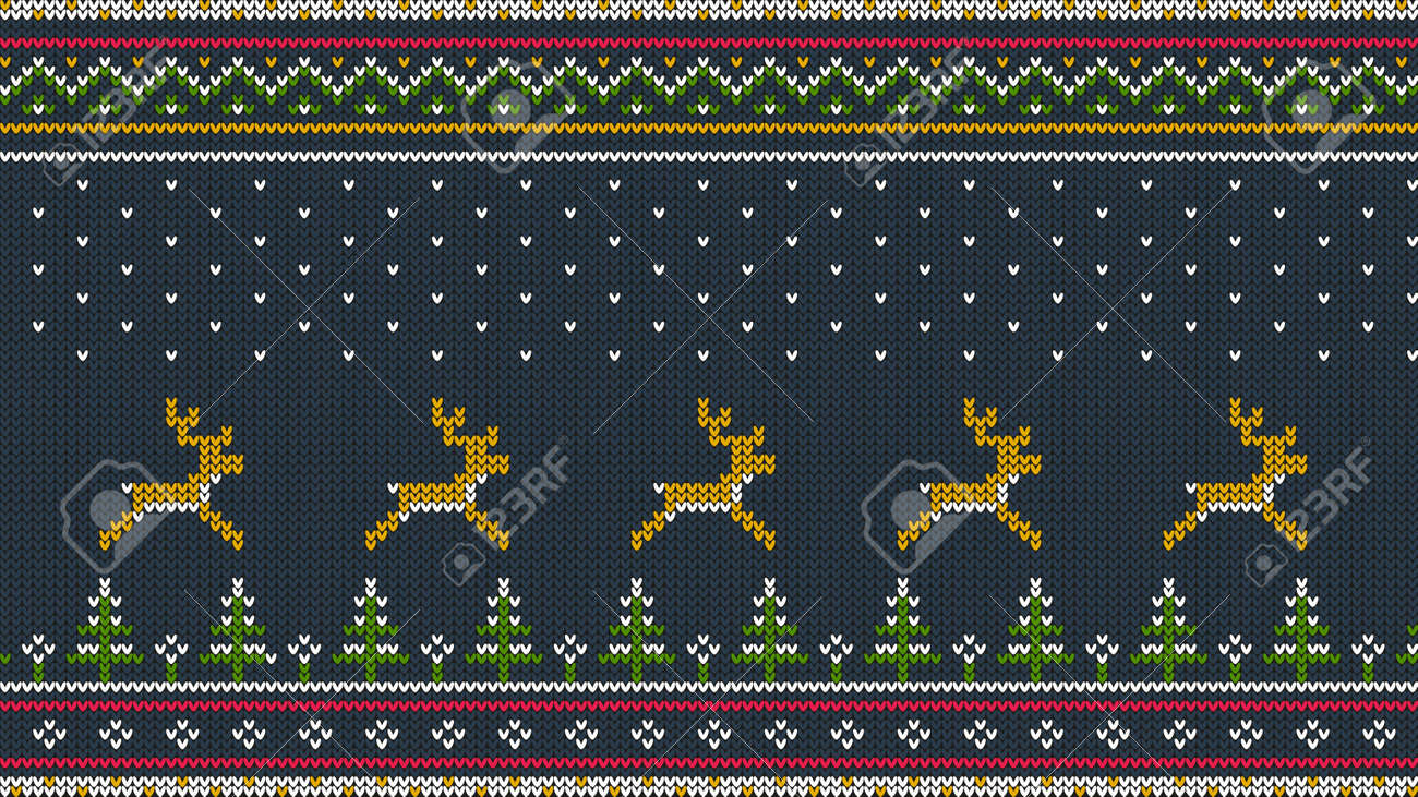 Northern knitted color horizontal ornament for sweeter with deer running over the spruce forest, national patterns and falling snow. Stock Vector - 92806038
