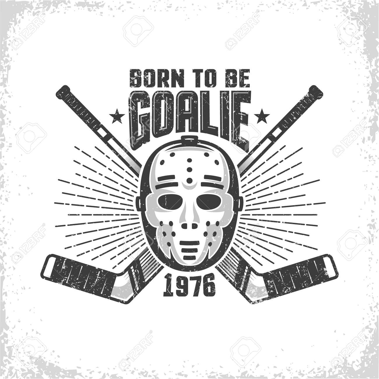 Vintage Hockey Emblem With Retro Goalie Mask And Crossed Sticks