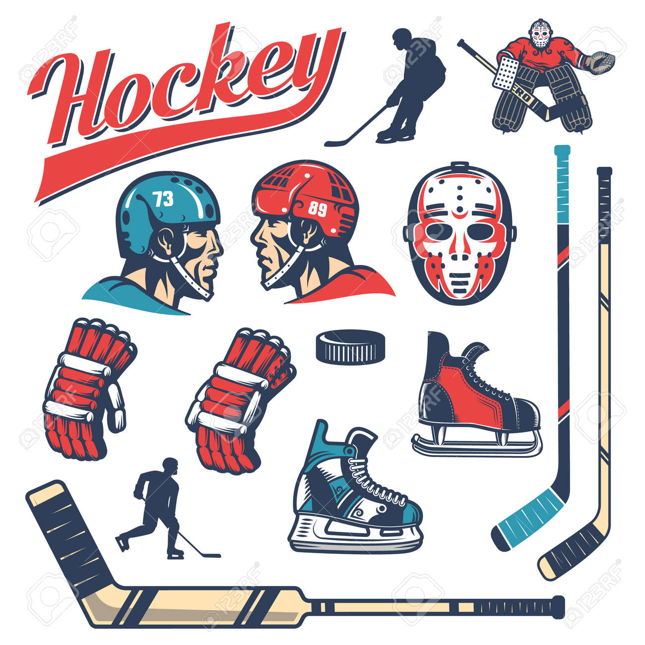 Set Of Hockey Equipment In Retro Style Player Head In Helmet