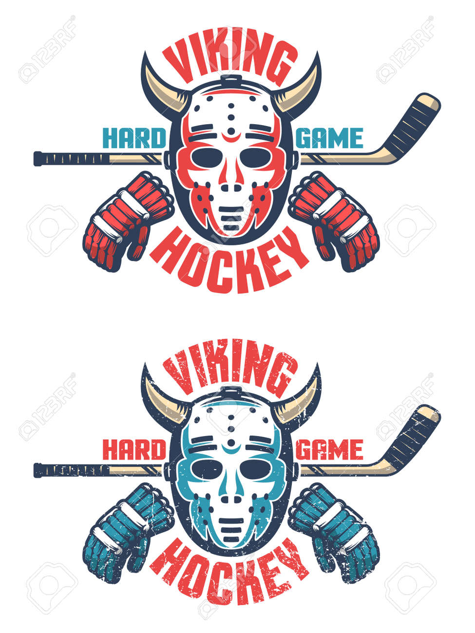 Oldschool Hockey Emblem Retro Goalie Mask With Horns Stick