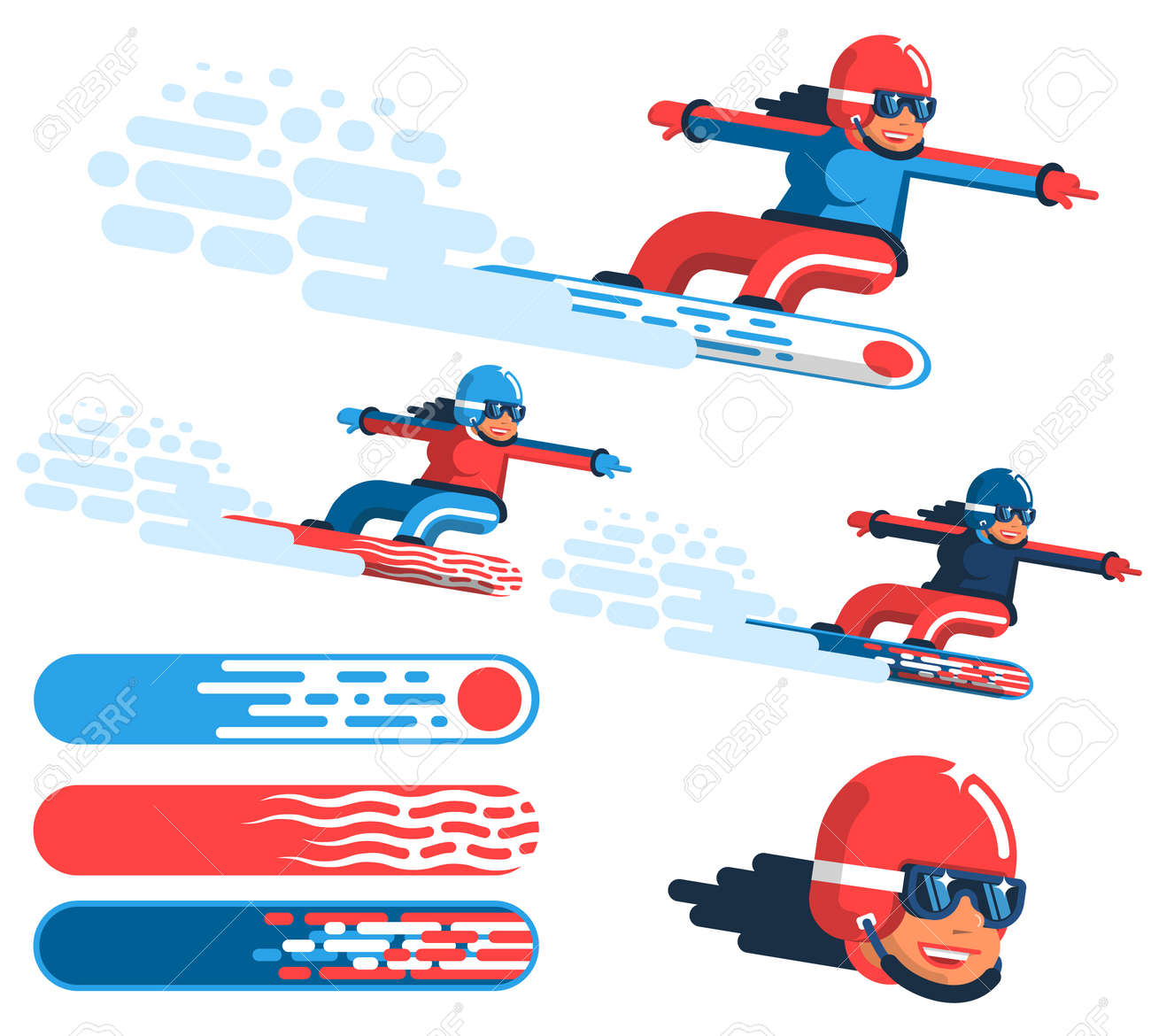 Girl snowboarder in motion - options in different outfits with drawings on the boards. - 94608744