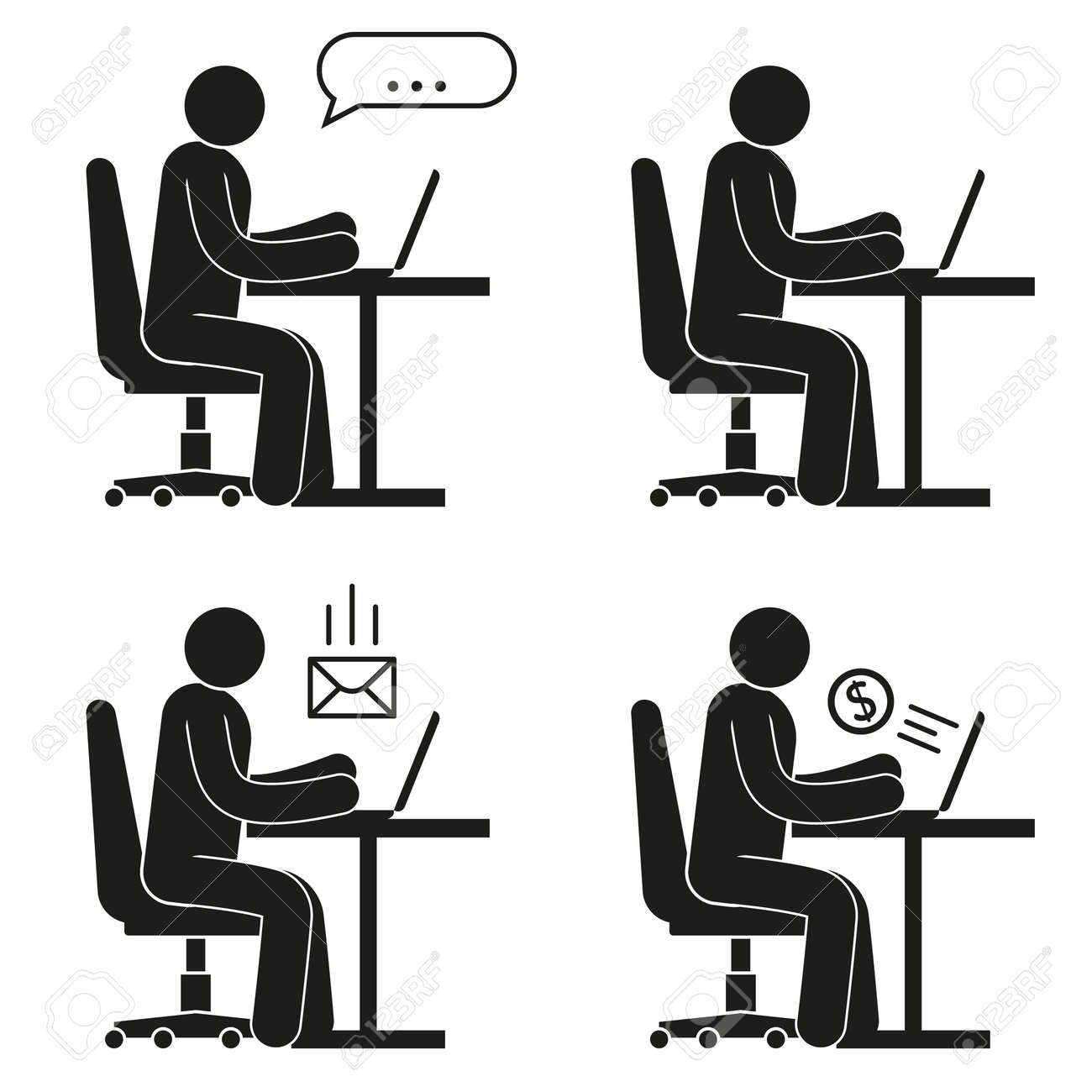 Icon Of People Sitting On Office Chair At Desk With Laptop