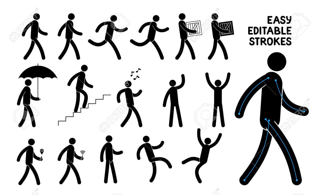 Easily editable pictogram man. Saved stroke. Set of basic poses icons people. - 116631628
