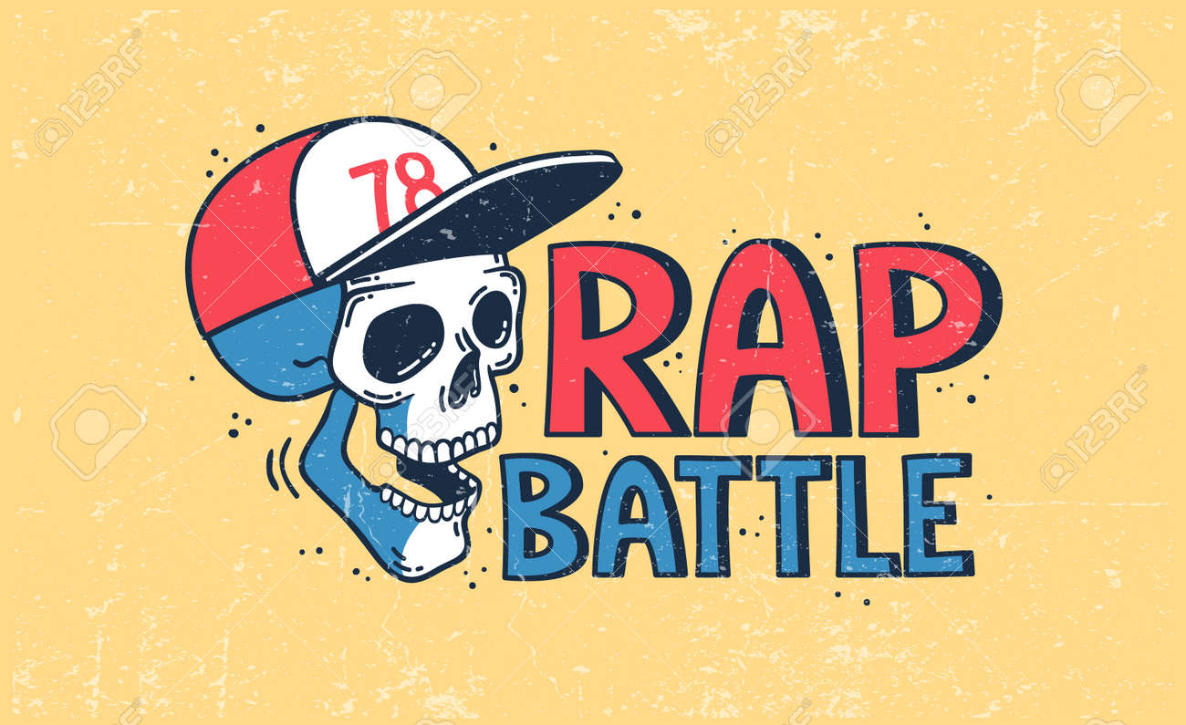 Rap battle with a skull in a baseball cap - 119509145