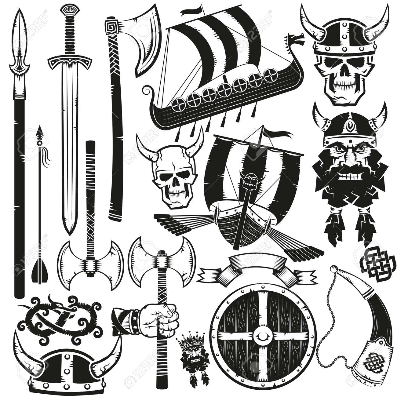 Viking Items Bundle Black On White Background Stock Photo Picture And Royalty Free Image Image 125670592