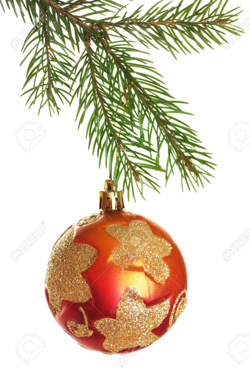 Christmas ball on fir branch isolated over white background Stock Photo - 11717964