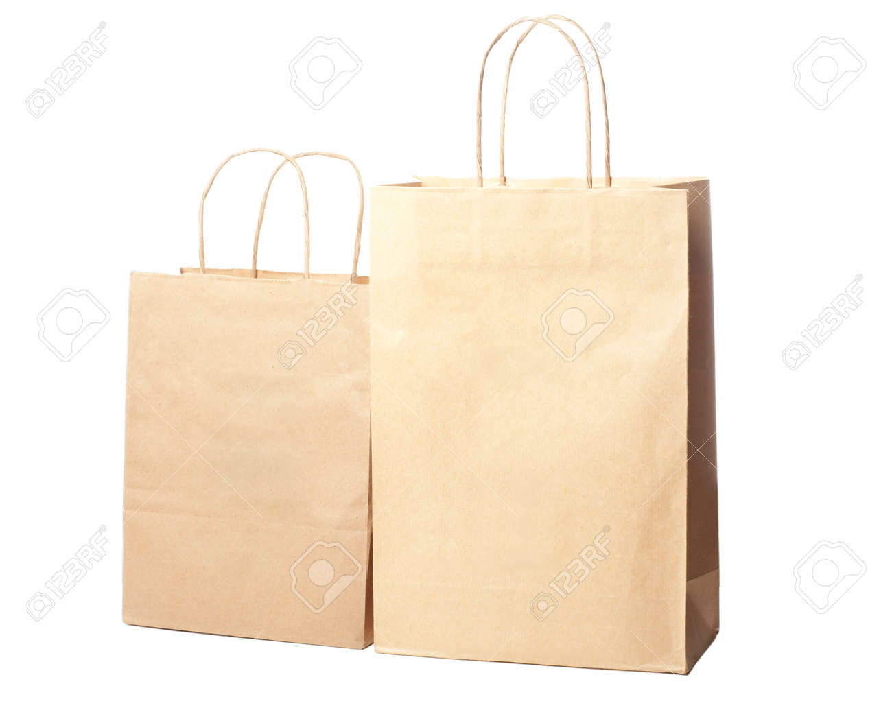 Two paper bags isolated over white background Stock Photo - 13207358