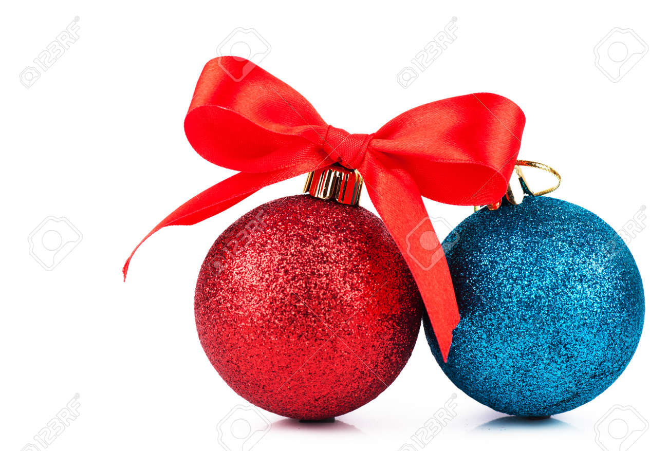 red and blue christmas decorations with red bow over white background stock photo 16902188