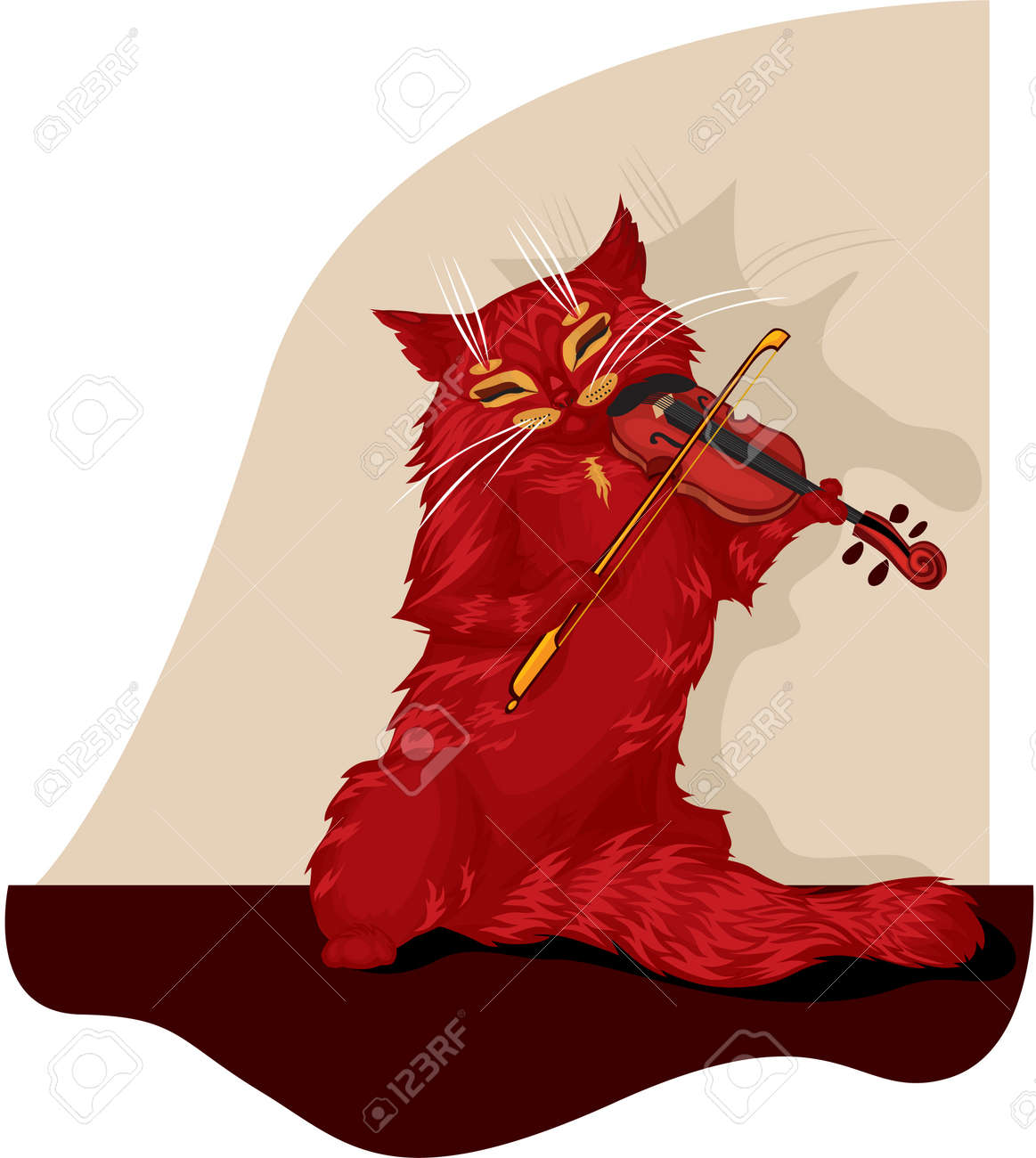 Tabby cat plays the violin Stock Vector - 11085770