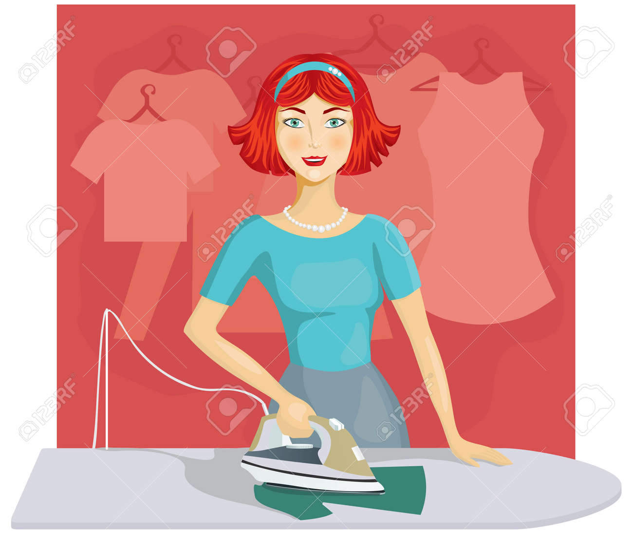 Woman ironing clothes Stock Vector - 11085757