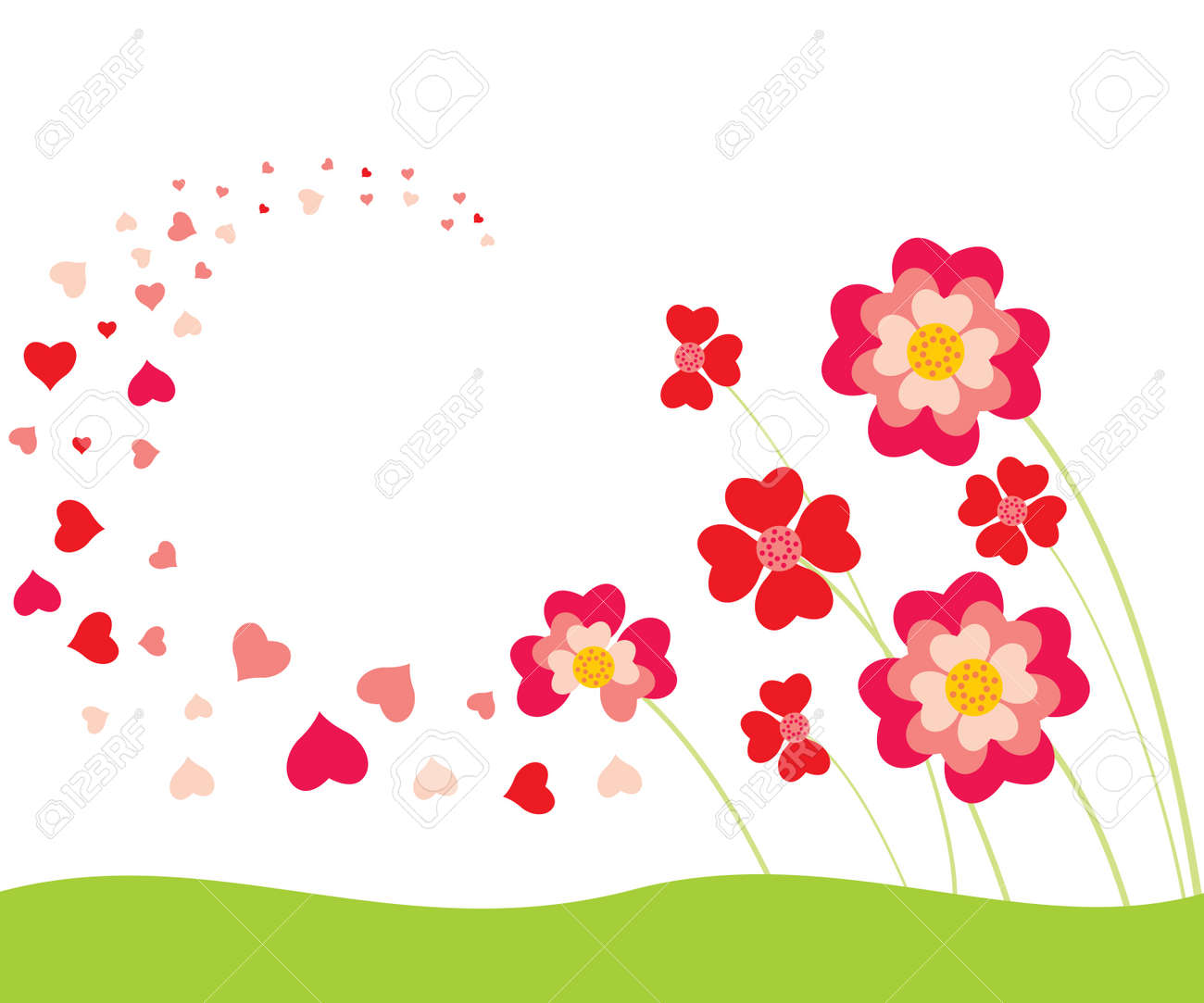 The flower petals in the form of hearts flutter in the air Stock Vector - 11373313
