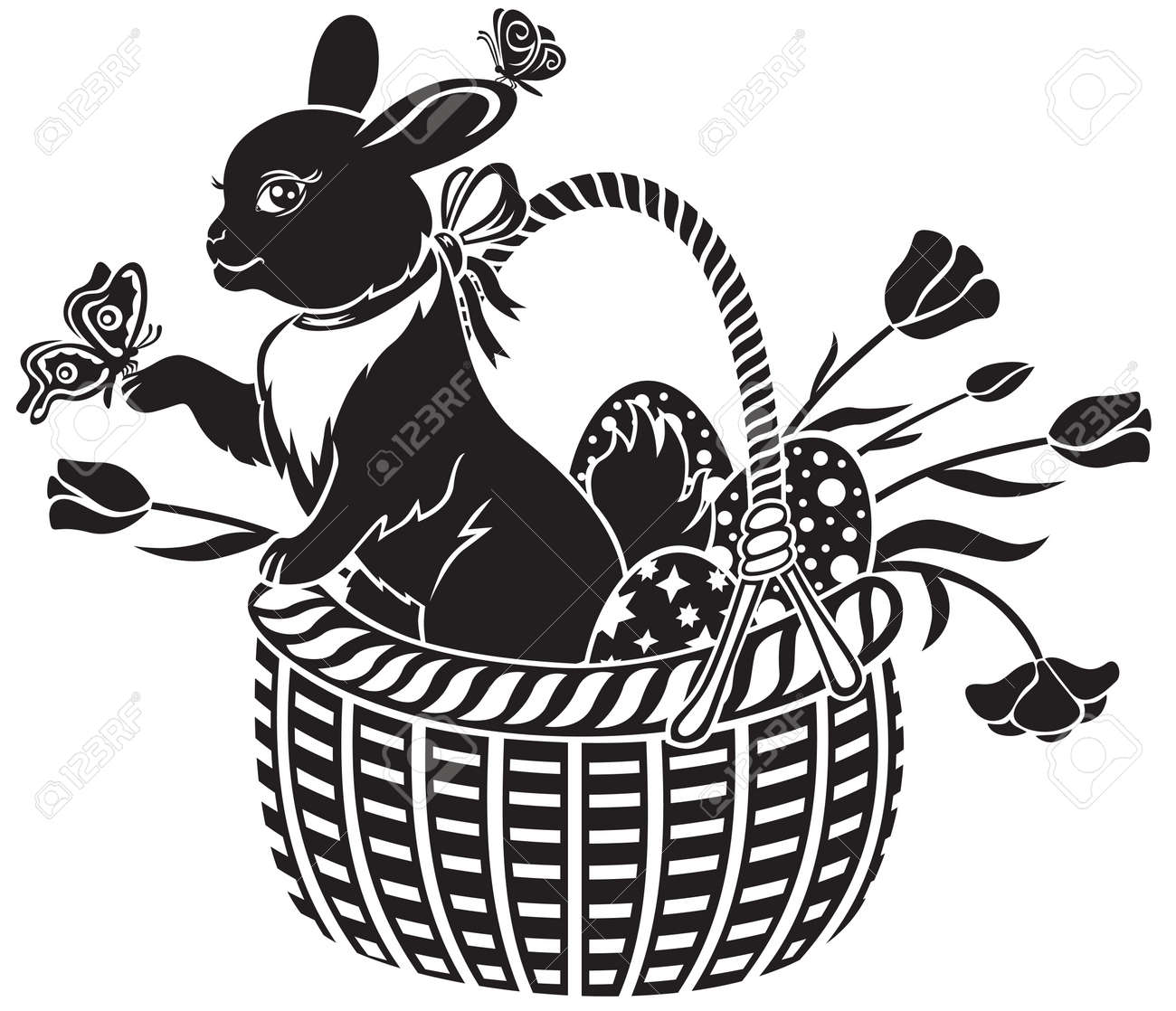 Easter hare sitting in a basket with eggs Stock Vector - 12845257