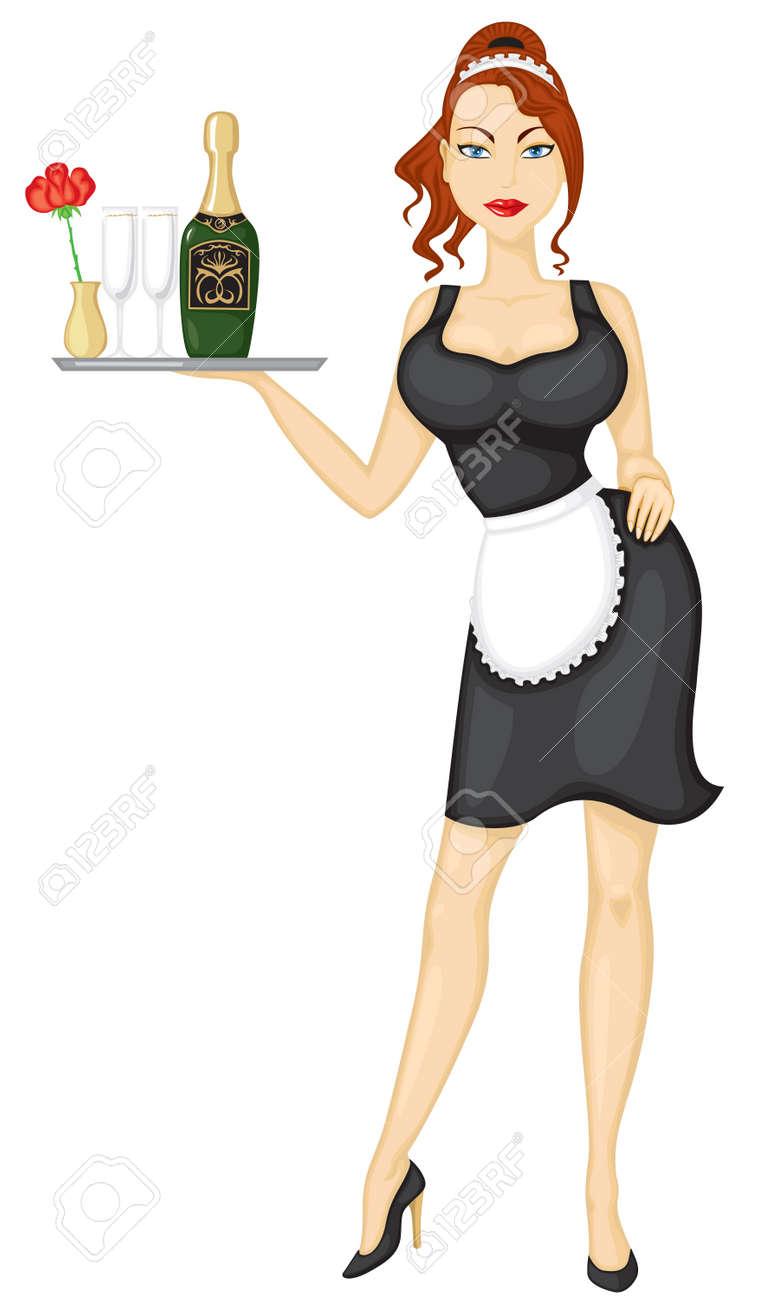 Beautiful girl waitress brings wine and glasses - 14534574