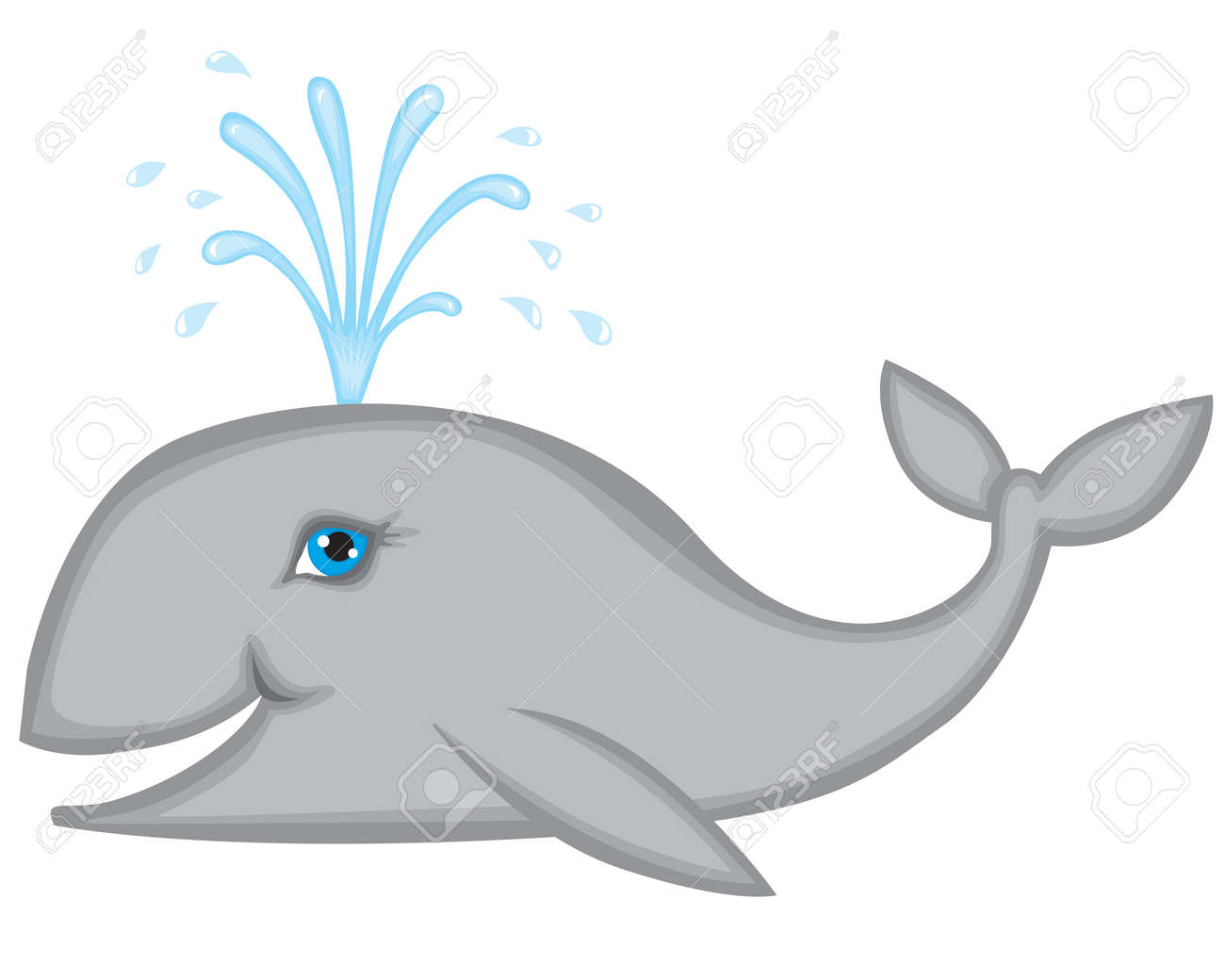 Whale smiles and pours water fountain Stock Vector - 14627818