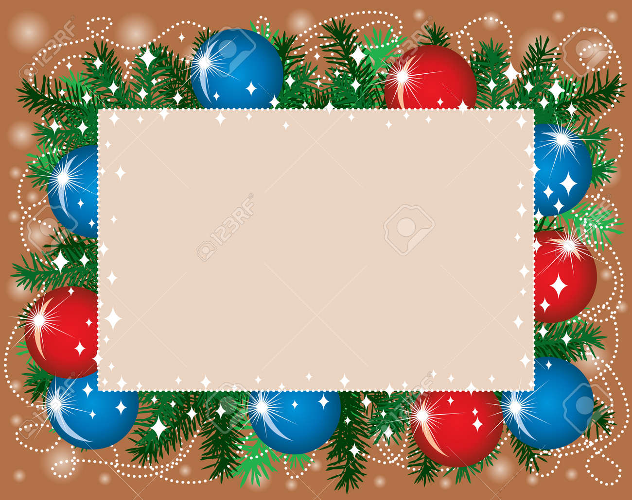 New Year congratulatory background with fir tree branches, red and blue balloons and confetti Stock Vector - 14690559